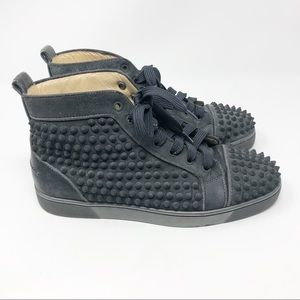 Louboutin men black suede spikes sneakers 7